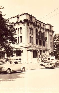 Vintage Real Photo Postcards Unused real photo postcard. Masonic Temple with old cars in front. EKC stamp box The L.L. Cook Co. H129 Item #B4410