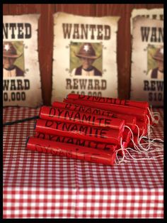 Wild West Party prop Pretend Dynamite made by Forever Busy Mum/could have red licorese Inside, wrapped in red paper. Wild West Party prop Pretend Dynamite made by Forever Busy Mum/could have red licorese Inside, wrapped in red paper. Cowboy Theme Party, Cowboy Birthday Party, Horse Birthday, Farm Party, Birthday Parties, 7th Birthday, Western Party Decorations, Rodeo Party, Wild West Party