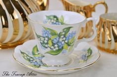 Royal Albert Lily Of The Valley Teacup Set by TheTeacupAttic