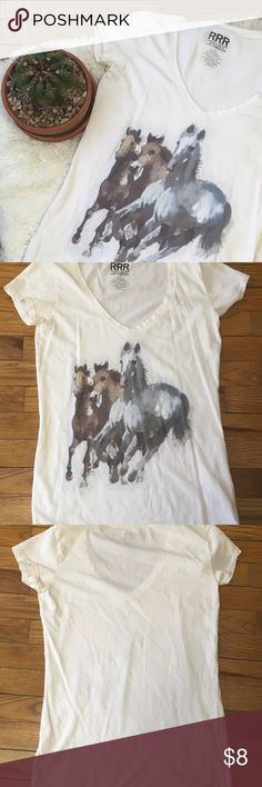 Wild Horses T-shirt Gently worn tee featuring a screen print of horses. Label says it's from RRR Romance • Retro • Rock, Division if Awake Inc. Los Angeles. Good condition all around. 17 inch bust laying flat. 26 inches long. 100% cotton. Tops Tees - Short Sleeve