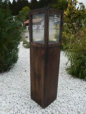 Große Laterne aus Holz u. Glas, Holzlaterne, Windlicht, Glaslaterne, Säule