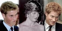Love the matching squinch of their faces-William, Diana, and Harry - alike in so many ways.