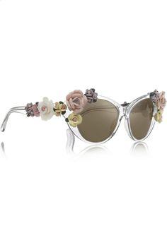Dolce  Gabbana | Cat eye embellished mirrored acetate sunglasses | NET-A-PORTER |=