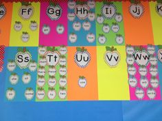 This is not complete but it is a start of my word wall. I used different color dotted apple letter posters as well as different color dotted Fry first 100 sight word flashcards to create this. All of these items are available for purchase on My Kinder Garden TPT Store