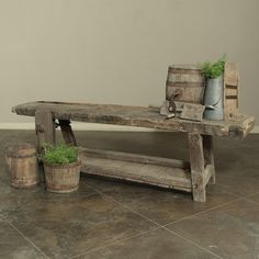 Perfect as a sofa table for your rustic decor, here is where skilled artisans created the antique furniture that may very well be in your own home! Giant wood and iron vise is still operational. Circa 1880s. Measures 28.5H x 93W x 24D