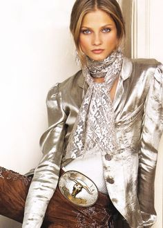 I love the color and style of this jacket and scarf together.