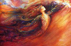 """Artiste: Charlotte Atkinson.  La joyeuse...  """"La joyeuse est dynamique. Les milles feux de son exaltation suffisent pour nous réchauffer. Sa danse est large et fluide comme les ailes déployées d'un oiseau. La joyeuse s'apprête à prendre l'envol de sa créativité authentique car elle est parvenue à la reconnaissance d'elle-même. Elle a su faire confiance à ses dons personnels tout en étant consciente des besoins du monde."""" Monique Grande Féminitude."""