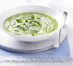 Green Cucumber & Mint Gazpacho - Ingredients: Cucumber, yellow pepper, garlic, avocado, spring onions, mint, yogurt, white wine vinegar, green Tabasco