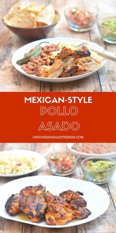 Pollo Asado or Mexican-style roasted chicken is marinated in citrus juices and spices for amazing flavor. Delicious fresh off the grill but also makes great leftovers. Chop up the grilled chicken and use in burritos, tacos or salads!