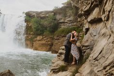 Engagement Photos at Lundbreck Falls in Crowsnest Pass with the couples' dogs in the pictures. Photos by Havilah Heger Photography Engagement Shoots, Wedding Engagement, Wedding Day, Banff National Park, National Parks, How Beautiful, Beautiful Places, I Love Dogs, Big Day