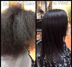 Hair before and after a keratin treatment... Coppola keratin lasts 4-6 months does not completely remove curl but removes frizz and makes hair so much healthier and easier to style.