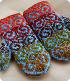 Ravelry: Fiddlehead Mittens pattern by Adrian Bizilia Stranded mittens with sore thumb and a traditional mitten shape, knit in decidedly non-traditional yarns, fibers, and colors. Crochet Mittens, Mittens Pattern, Knitted Gloves, Knit Crochet, Fingerless Mittens, Crochet Granny, Fair Isle Knitting, Knitting Socks, Hand Knitting