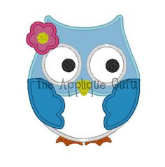 Girl Owl Applique Machine Embroidery Design. $3.99, via Etsy.