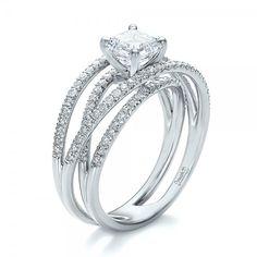Custom Pave Diamond Multi-Band Engagement Ring - 3/4 View
