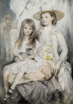 Joszi Arpad Koppay (Hungarian, 1859-1927), Portrait Of A Pair Of Young Girls, via Flickr.