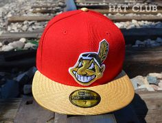 66fcf251932 Custom 2 Tone Cleveland Indians 59Fifty Fitted Cap by NEW ERA x MLB   HAT  CLUB