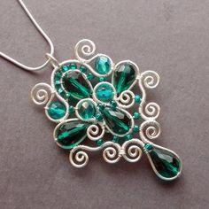 Smaragdzöld ezüst csepp medál , ezüstözött csepp ékszer (PerAnnaEkszer) - Meska.hu
