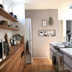 女性で、のオープン収納/パナソニックキッチン/無垢の床/無垢材/こどもと暮らす。/シンプルな暮らし…などについてのインテリア実例を紹介。(この写真は 2017-03-25 13:13:39 に共有されました)