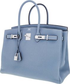 """Hermes 35cm Blue Lin Clemence Leather Birkin Bag with PalladiumHardwarePristine Condition14"""" Width x 10"""" Height x 7"""" DepthThis fantastic bag is in the new and highly sought after color,Blue Lin. This incredible shade of blue-gray is the ultimate yearround neutral blue. The Birkin bag has maintained its position atthe top of the luxury accessories market due to its practicality,lasting value, and functionality. http://www.foryoubest.com"""