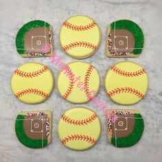 Softball themed sugar cookies with royal icing. @Momster_Cookies on Instagram.