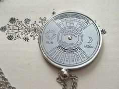 Perpetual Calendar Necklace Spinning Turn Dial 50 Year Dated Manual Spin Real Perpetual Calendar up to year 2060 Finished Necklace Inv0008 by PeculiarCollective on Etsy