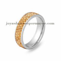 anillo con cristal de champan en acero para mujer-SSRG243_ 2