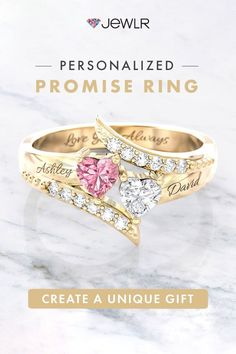 Sparkle in every direction! This double-heart ring is the perfect symbol of love💕 Create yours today! Fine personalized jewelry handcrafted in🇺🇸🇨🇦 . Free shipping. 99-day returns. . . . . #Jewlr #PersonalizedJewelry #HeartRing #GoldRings #CustomRing #PromiseRing #GirlfriendGift Personalized Promise Rings, Personalized Jewelry, Bypass Ring, Love Symbols, Handcrafted Jewelry, Heart Ring, Gemstones, Gold, Sparkle