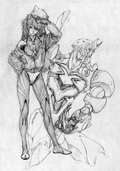 Neon Genesis Evangelion - Asuka and Unit 02 by... - Art Vault