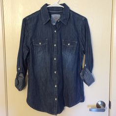 Jean Shirt Gently used. No stains or damage. Size large, but fits like a medium. Smoke free home. No trades! Bundles discounted. SO Tops Button Down Shirts
