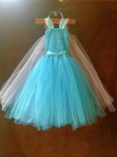 Frozen Inspired Long Elsa Tutu Dress with Snowflake Charm and Veil Train * Baby Toddler Girls on Etsy, $45.00