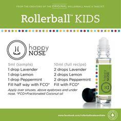 Kids essential oil roller bottle recipe: happy nose!