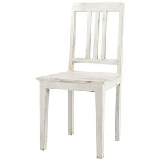 Distressed mango wood chair in white