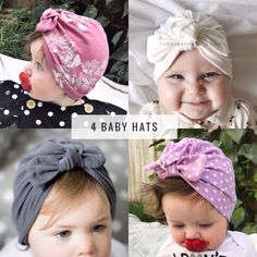 Set of 4 baby turban hats with bow, baby bow hats, newborn hat, newborn girl hat, baby turban, baby jersey hat, hospital hat
