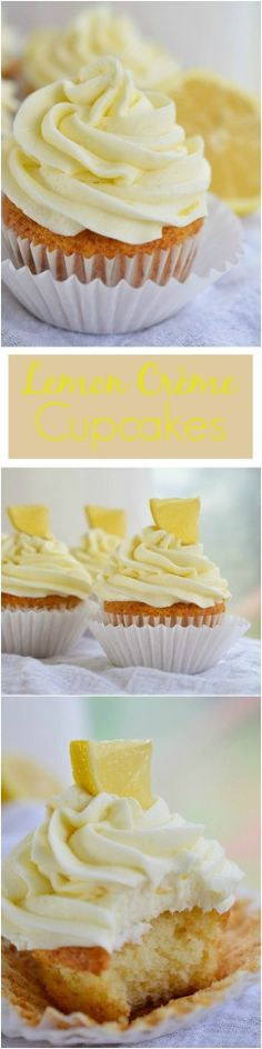 Easy Lemon Cupcakes topped with Creamy Lemon Buttercream Frosting made with Lemon Crème pie filling. A quick and easy lemon dessert! Easy Lemon Cupcakes topped with Creamy Lemon Buttercream Frosting made with Lemon Crème pie filling. Köstliche Desserts, Lemon Desserts, Lemon Recipes, Sweet Recipes, Delicious Desserts, Plated Desserts, Yummy Food, Cupcake Recipes, Cupcake Cakes