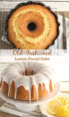 This delicious Lemon Pound Cake is wonderfully moist and flavorful, drizzled with lemon icing. Made with lemon zest, freshly squeezed lemon juice, and topped with a tart lemon icing- this is the perfect pound cake for anyone who loves lemon! Lemon Dessert Recipes, Pound Cake Recipes, Easy Cake Recipes, Simple Recipes, Moist Lemon Pound Cake, Lemon Bundt Cake, Pound Cake Icing, Lemon Cakes, Vanilla Cake