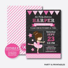 Instantánea descargar, Ballet rosa Editable cumpleaños invitación, invitación de Ballet, bailarina cumpleaños invitación, invitación de la bailarina (CKB.415)