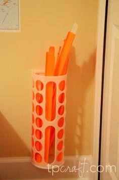 Great storage for the kids Darda (cars) tracks - ikea plastic bag holder