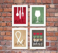 Modern and Fun Kitchen Art Prints Adorned with the Words: Eat, Drink & Be Merry quote, designed with a nice mildly textured background. Very fun