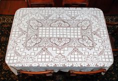 """Filet Lace Vintage Tablecloth, Filet Net lace, Darn Net Lace,Vintage Lacis, Hand Made 72"""" by 62"""", Christmas Dinner"""