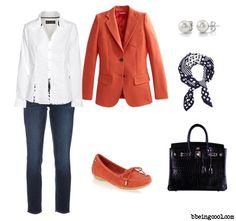 4 from 3 - White Shirt, Orange Blazer, Jeans, Loafers, Satchel