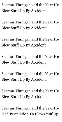 Harry Potter according to Seamus Finnigan