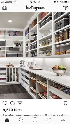 Walk in Pantry W/ counter space for appliances & individual slots for baking/pan. Walk in Pantry W Kitchen Pantry Design, Diy Kitchen Storage, Kitchen Organization, New Kitchen, Kitchen Decor, Kitchen Sink, Kitchen Cabinets, Kitchen Butlers Pantry, 1960s Kitchen