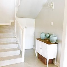 Screed staircase, neutral, white and grey, duck egg, ginger jars