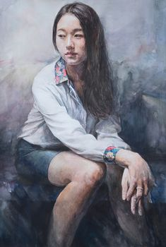Pencil Painting, Figure Painting, Body Painting, Watercolor Portraits, Watercolor Paintings, Watercolour, Full Body Paint, Sketches Of People, Painting People