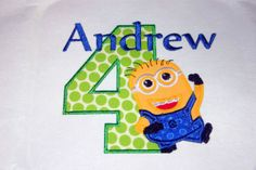 boys despicable me Birthday shirt, Personalized, Embroidered, Appliqued, Monogrammed on Etsy, $18.00