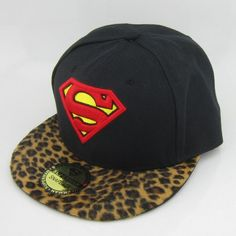 New Leopard Superman Snapback Hat Cap Adjustable Hiphop Flat Bill Fashion  Black e0d414818ffd