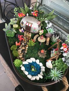 Tabletop Camping Fairy Garden…Will Travel! You get a special eye-catcher wh… - Modern Kids Fairy Garden, Fairy Garden Houses, Gnome Garden, Enchanted Garden, Garden Care, Miniature Fairy Gardens, Garden Crafts, Succulents Garden, Flower Pots