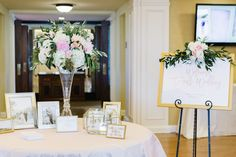Guest book Table wedding. Tall arrangement. Welcome sign flowers. Blush wedding. Florals by Jenny. Bella Collina Golf Club. Jana Williams Photography. Me Weddings and Events