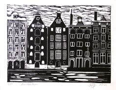 Hand Printed Lino Cut Print - Amsterdam - Limited Edition. $20,00, via Etsy.