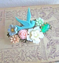 Floral Brooch Shabby Chic Blue Bird Brooch Flower Accessories by Jewelsalem